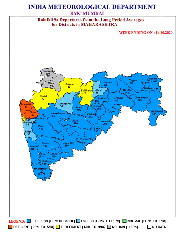 Not surprised to see this plot showing weekly rainfall anomalies (ending on 14 Oct) in all districts of #Maharashtra. One can clearly estimate how bad this rainfall must have been for harvested/ready to harvest kharif crops. https://t.co/Zbypm7kQd9