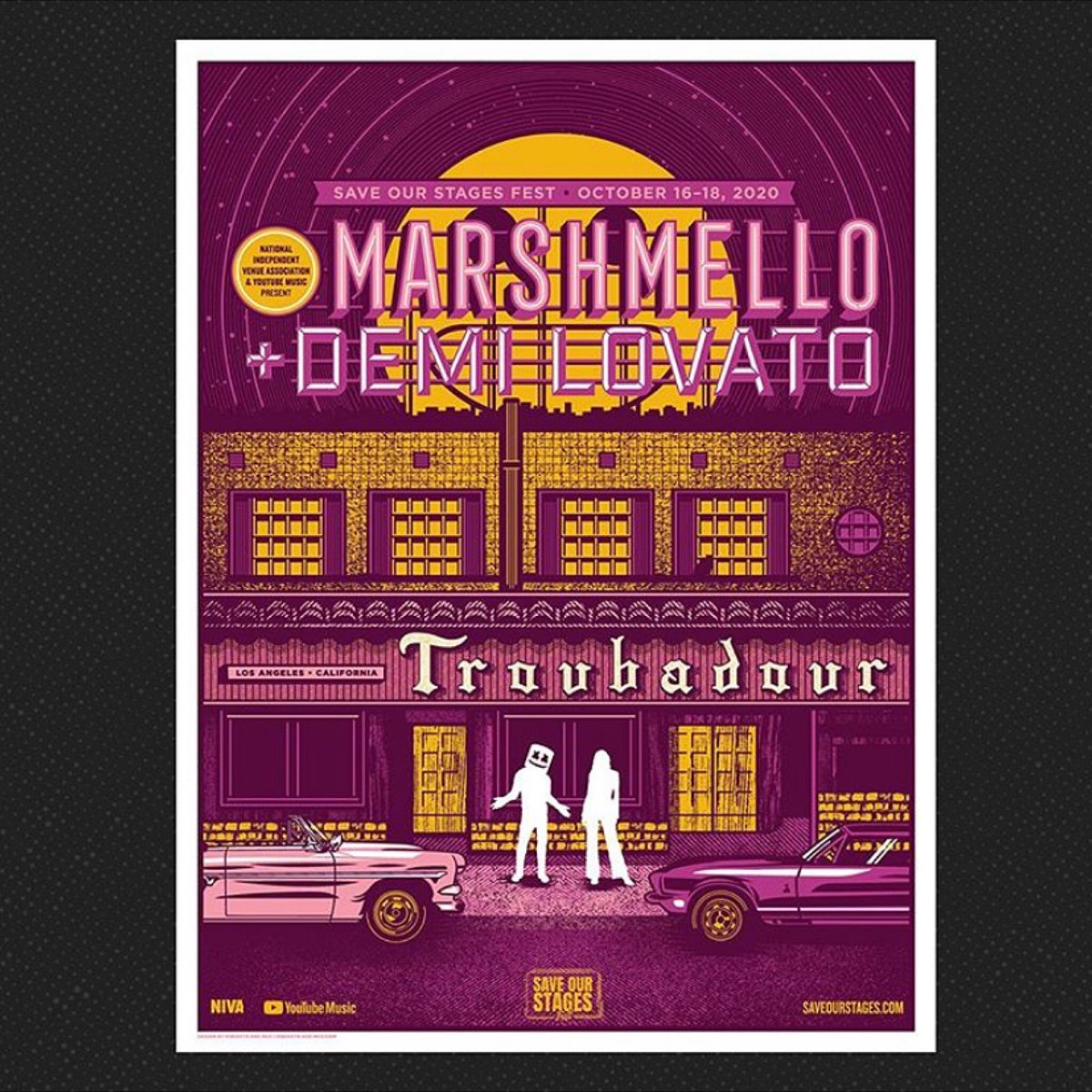 Grab @marshmellomusic and @ddlovato's limited edition poster by Rockets Are Red!  All proceeds will benefit the NIVA Emergency Relief Fund → https://t.co/NHdZKsYiRw https://t.co/i2z1iFarfi