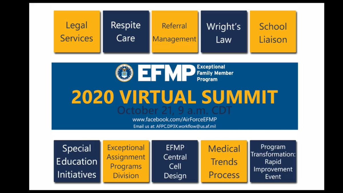 Mark your calendar for the 2020 Exceptional Family Member Program virtual Summit happening Oct 21 at 9 a.m. CDT. on the Department of the Air Force Exceptional Family Member Program Facebook page. EFMP provides support to #militaryfamilies! #AirForce