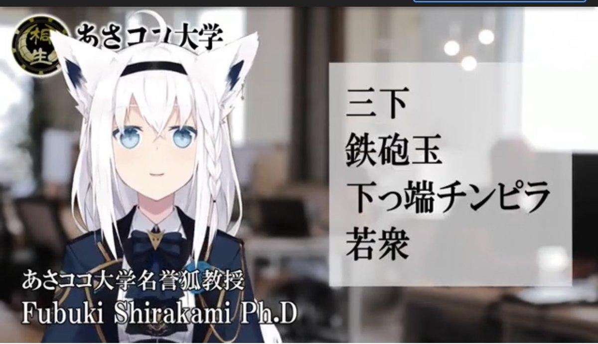 どうも、あさココ大学名誉狐教授です