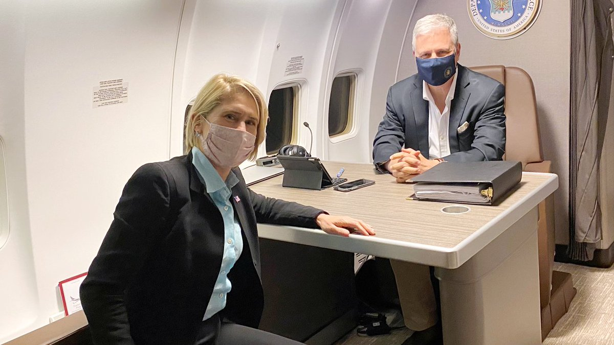 """#EXIM Chairman Kimberly Reed: """"Great to join @WHNSC @robertcobrien on the flight to #Brazil with @USTradeRep @DFCgov. Looking forward to discussing the robust relationship between our countries & joint #economic opportunities! bit.ly/37gFwxl"""