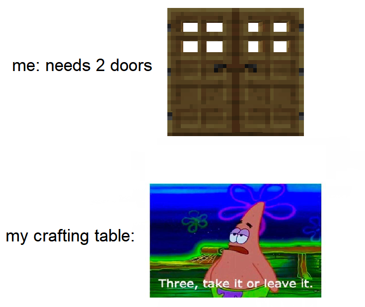 Minecraft Memes On Twitter Crafting Tables Be Like