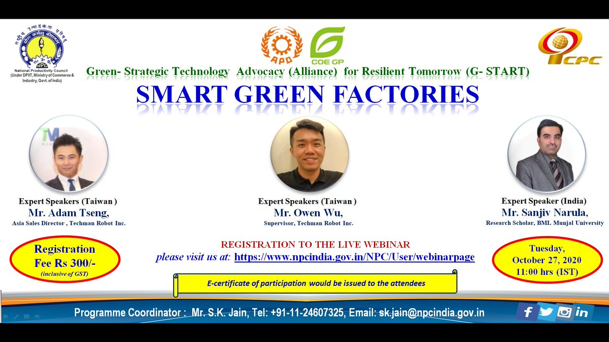 Pl join webinar on #Smart #Green #Factory by Indian and Taiwanese expert speakers. Link:https://t.co/cVYL2VTDBZ…  @NPC_INDIA_GOV @NPC_COE4IR #ePass #npccertificate #npc #kyp #npcindia  @IITGuwahati @IITKgp @iitmadras @iitroorkee @IIM_Calcutta @IIMKozhikode @IIM_Bangalore https://t.co/yL3f44W5UQ