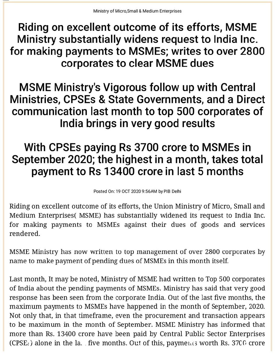 Riding on excellent outcome of its efforts, MSME Ministry substantially widens request to India Inc. for making payments to MSMEs; writes to over 2800 corporates to clear MSME dues.  https://t.co/qQVymjiBFP  @PIB_India https://t.co/2kHFl4viPD