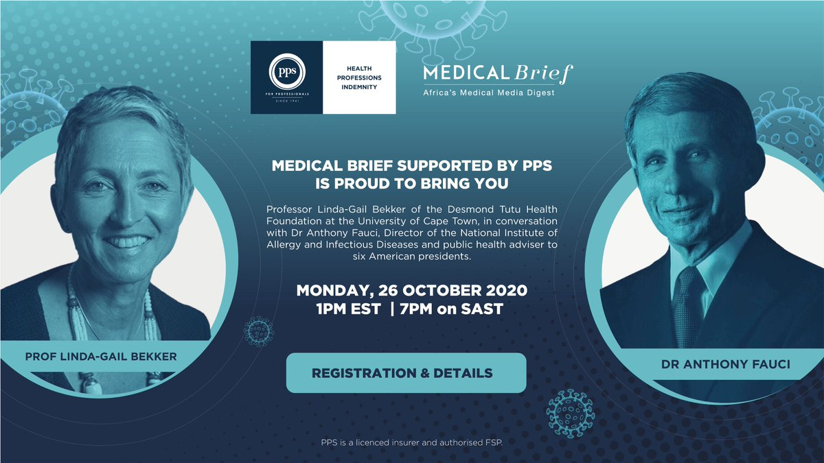 Make sure you register for this incredible upcoming webinar, where our own @LindaGailBekker will be chatting with the one and only Dr Anthony Fauci. This Monday 26 October at 7pm. https://t.co/RT8BBNtskA