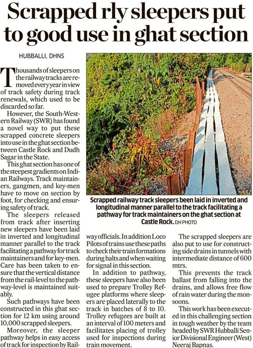 Scrapped PSC sleepers put to good use in ghat seft at Castle rock. @DeccanHerald #India #indianrailway #Karnataka #ghat #reuse  #track #maintenance #news #newstoday https://t.co/wkqopgGbBR
