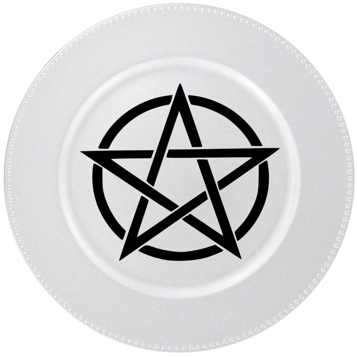 "Excited to share the latest addition to my #etsy shop: Pentagram Metallic Silver Charger Plate 13"" Round- Beaded Rim Decorative Plate-Home Decor-Table Decor- Altar Decor https://t.co/I9e2J2kaHE #wickedvillage #pentagram #decorativeplate #pentagramdecor #MakeItMeanigful https://t.co/Ax6vR5QTSh"