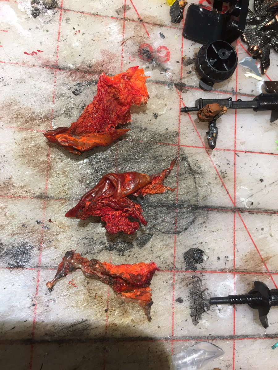 Home made plastic flames almost ready for resin dipping #gaslands progress on the Halloween build - you can also see my headless horseman head and arm in the shot - wip of course https://t.co/Q4ShXpKJjZ