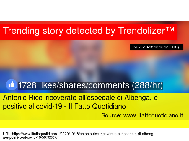 Antonio Ricci ricoverato all'ospedale di Albenga, è positivo al covid-19 - Il Fatto Quotidiano https://t.co/AISzIsLt8S https://t.co/mycwVGsQvY