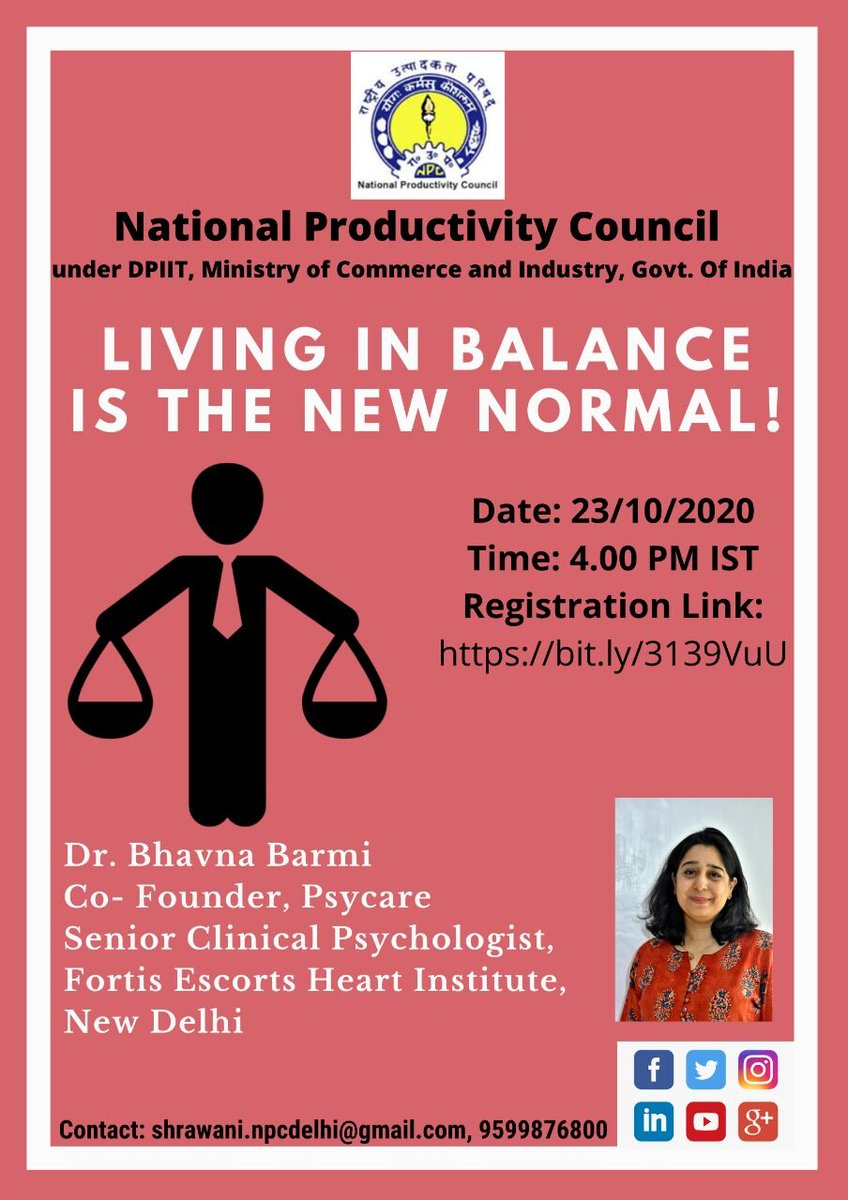 How we should balance our work while taking care of our precious family?  Join our free Webinar on 𝗟𝗶𝘃𝗶𝗻𝗴 𝗶𝗻 𝗕𝗮𝗹𝗮𝗻𝗰𝗲 𝗶𝘀 𝘁𝗵𝗲 𝗡𝗲𝘄 𝗡𝗼𝗿𝗺𝗮𝗹, 23rd Oct, 4 PM Register now-  https://t.co/Ruj5UJKosj   #npcindia #npc #mindfulness #webinar #balance #care #work https://t.co/yKhpWLCcma