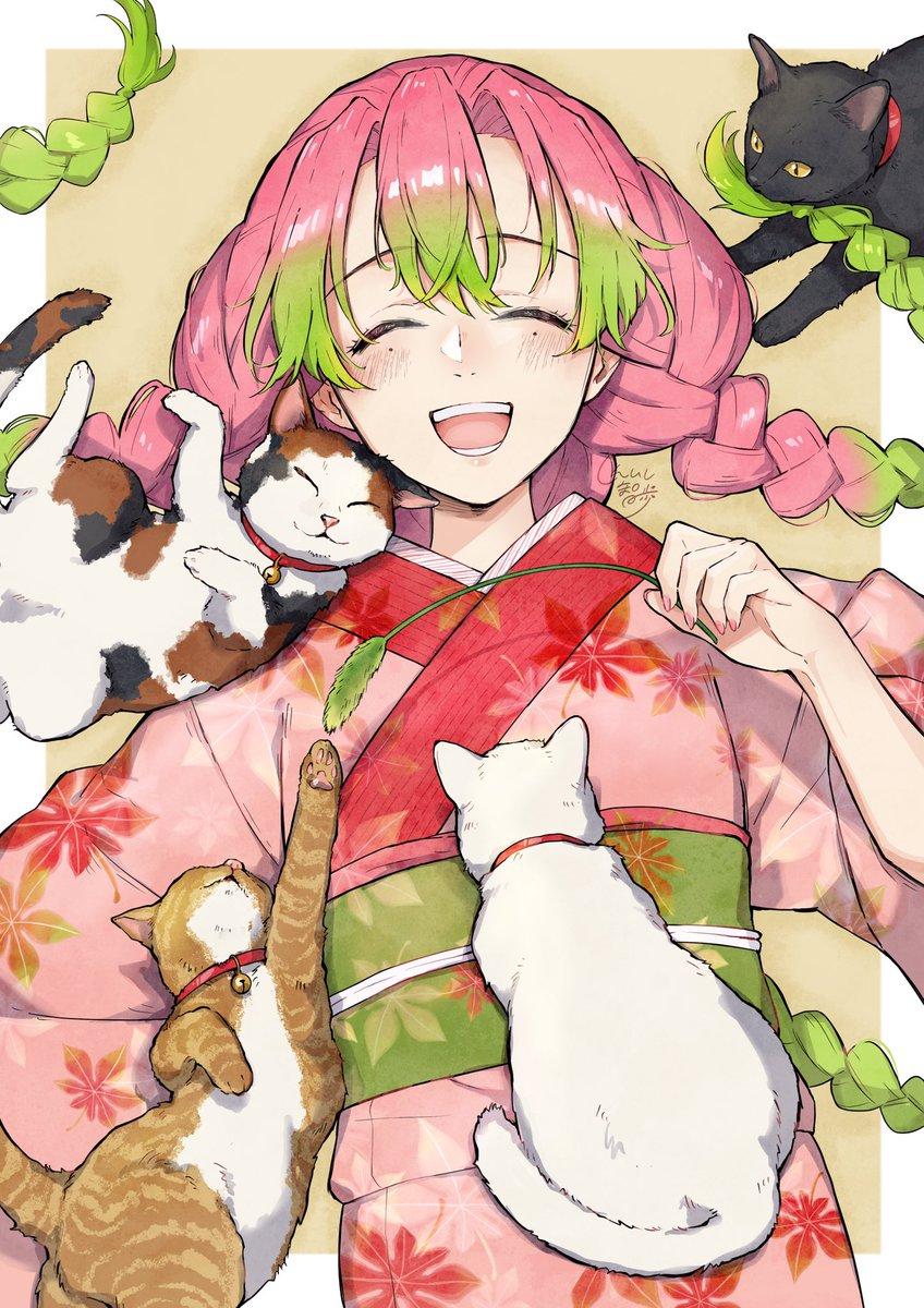 蜜璃ちゃんと甘露寺家のネコちゃんたち(タップして見てね!)