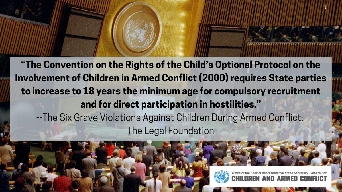 The rule that children must not be recruited into armed forces or armed groups and that children must not be allowed to take part in hostilities is considered customary international law #ACTtoProtect boys & girls living in armed conflict ow.ly/WqMr50BsIHt #UN75