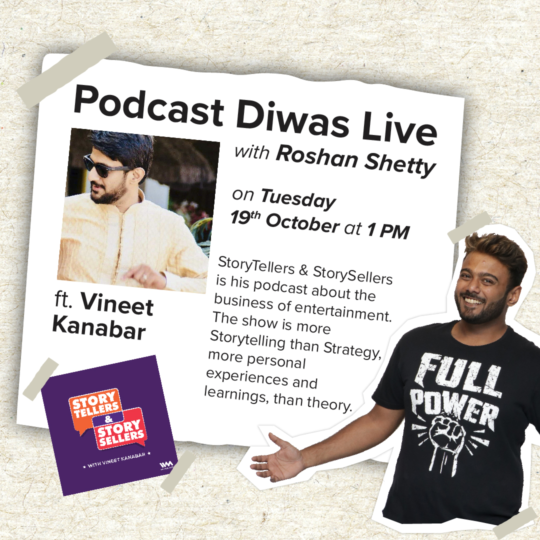 Tomorrow is Podcast Divas, and @roshansrb will be going live with podcaster @ashcharyafuckit of Story Tellers and Story Sellers fame on October 20th,Tuesday at 1pm. He hosts a series of podcast about the creative or business parts of the entertainment industry. Do join in! https://t.co/Vx3Sf3XnJl