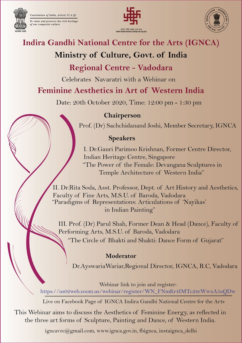 "Kindly register for tomorrow #Webinar on ""#Feminine_Aesthetics_in_Art_of_Western_India"" from 12.00 pm to 1.30 pm, organised by #IGNCA's Regional Centre, Vadodara. Registration Link: https://t.co/iyDFLKOx2G  @MinOfCultureGoI @nirupamakotru @NCAA_PMU @vedicignca @NManuscripts https://t.co/pDtPw3Gwfh"
