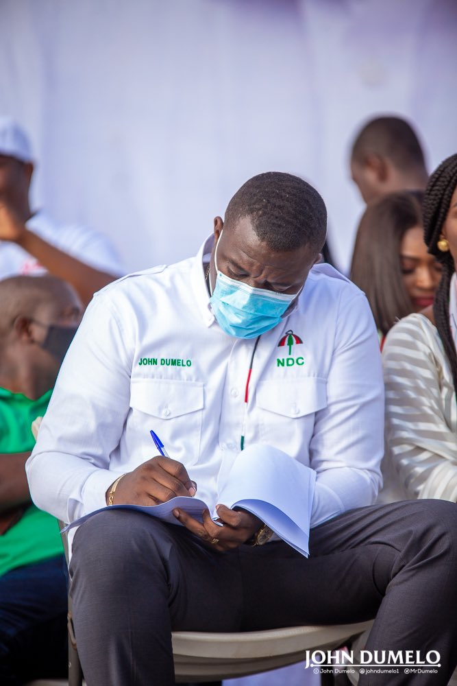 John Dumelo (white shirt) during Ayawaso West campaign launch