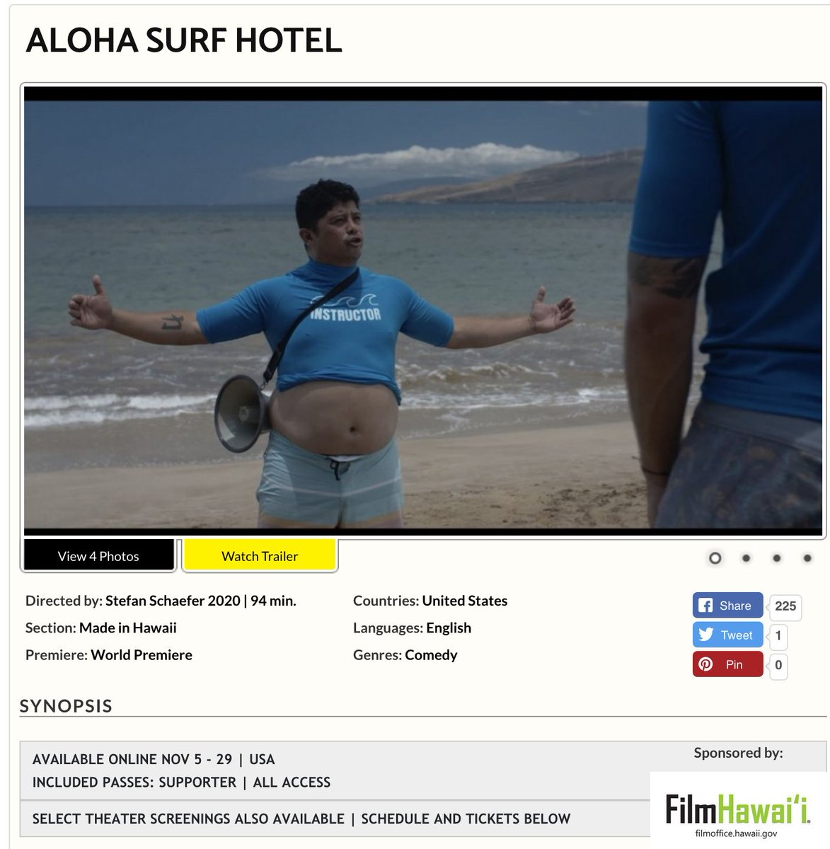 Happy to announce #ALOHASURFHOTEL will have its world premiere on Nov. 20th at the Hawai'i Int'l Film Festival. DIR. @stefancschaefer Starring: @AUGIET and @TaianaTully and the great @BranscombeRichmond   #alohasurfhotelmovie #worldpremiereonprime