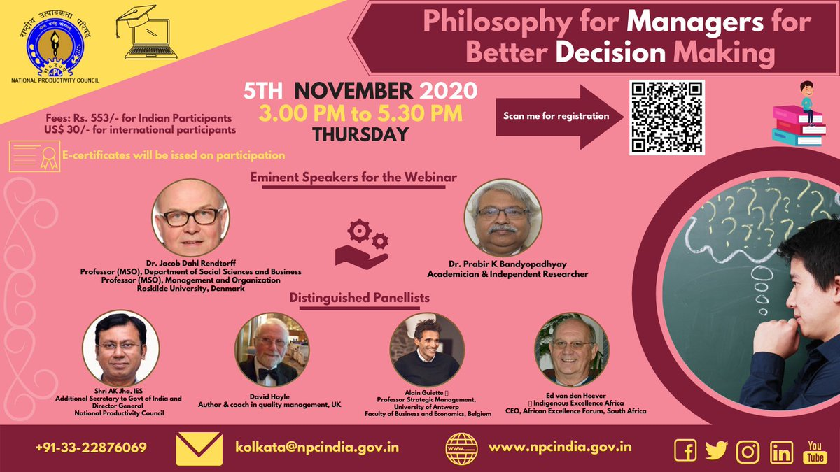 Join #NPCINDIA # Global #Webinar on linking #Philosophy and #Decision Making on 5th Nov 3 pm Register at https://t.co/xG87Liammc @swachhbharat @institute_solar @MoHFW_INDIA @HRDMinistry @RailMinIndia @SteelMinIndia @minmsme @GoI_MeitY @FinMinIndia @CoalMinistry @TexMinIndia https://t.co/somdWKwbHf
