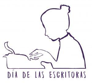 """Imagen de una mujer de perfil escribiendo en una máquina de escribir antigua. En su base aparece """"día de las escritoras""""."""