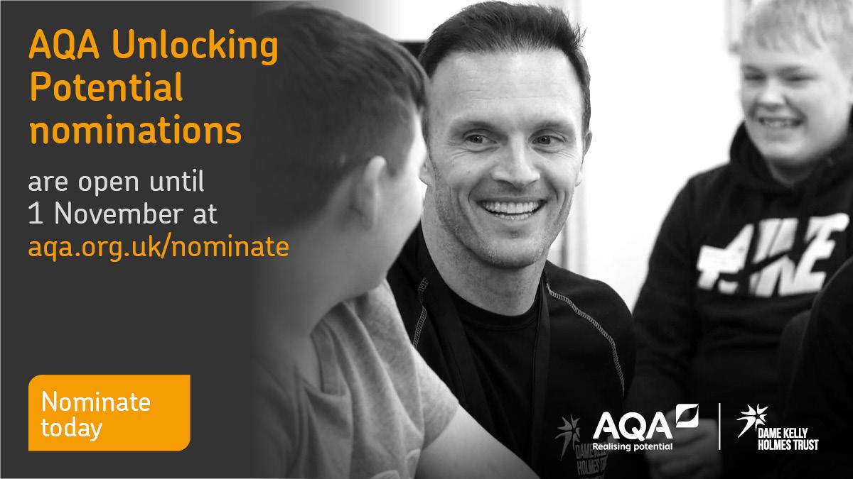 Nominations for #AQAUnlockingPotential close on 1 November. Nominate here > bit.ly/AQAUPNominate