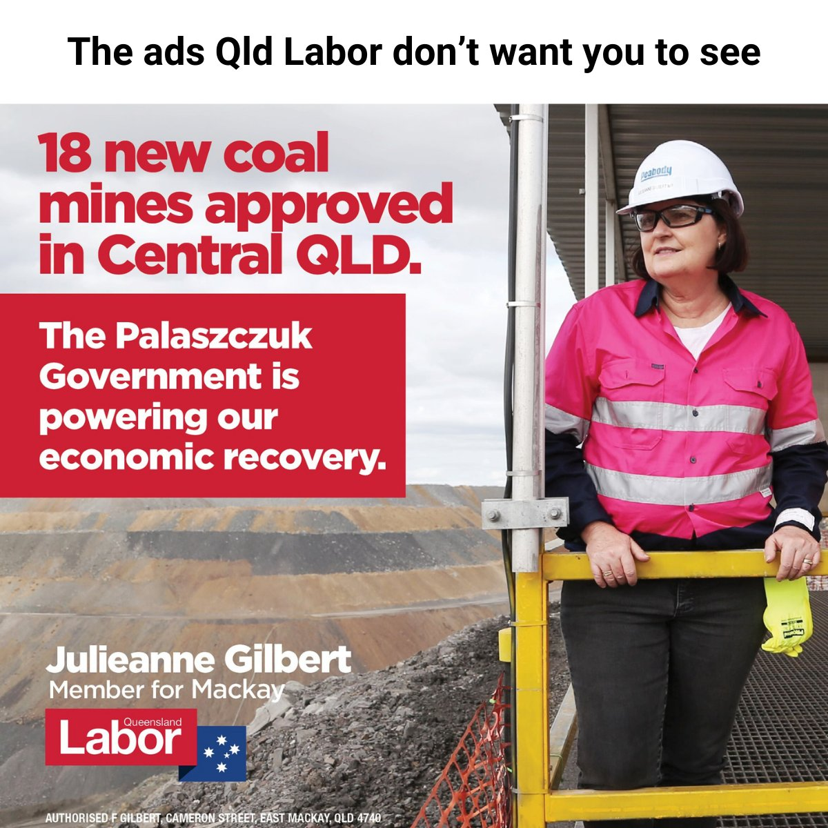 """You won't see this ad in Brisbane. You might see an ad about Labor's commitment to renewables, or how they """"accept the science"""" of climate change. Here's why I think Labor's wrong to keep walking both sides of the fence here. Thread:"""