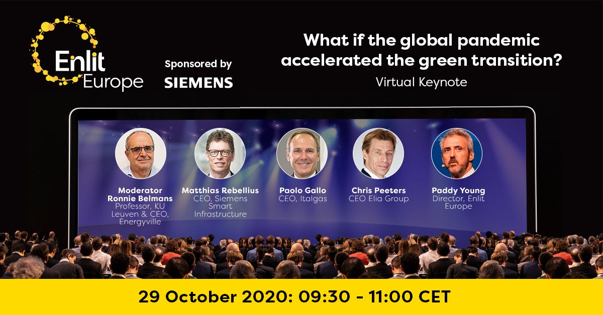 """Next week, you can't miss the #EnlitEurope Virtual Keynote discussing """"What if the global pandemic accelerated the green transition?"""" Tune in on 29 October to hear from Paolo Gallo @Italgas   @chris_p_elia @eliacorporate   @MatRebellius @SiemensInfra - https://t.co/nVk0O2jN9k https://t.co/hl5qFk3R7U"""