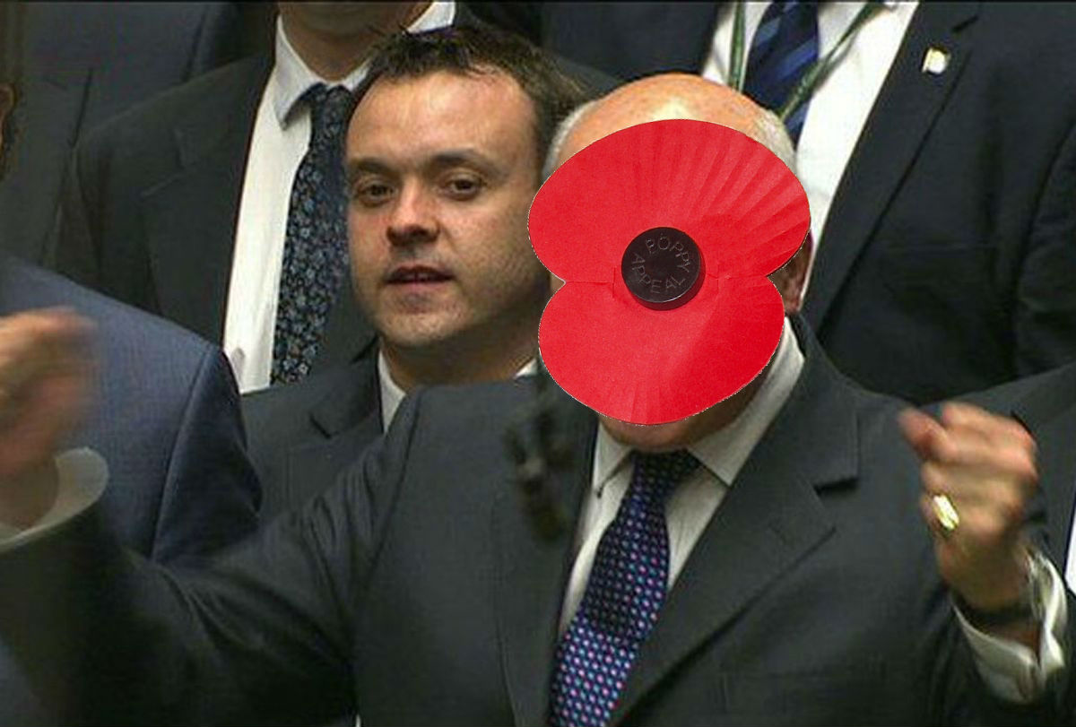 Proud to be the first MP to wear an enormous poppy on my face this year in the House of Commons