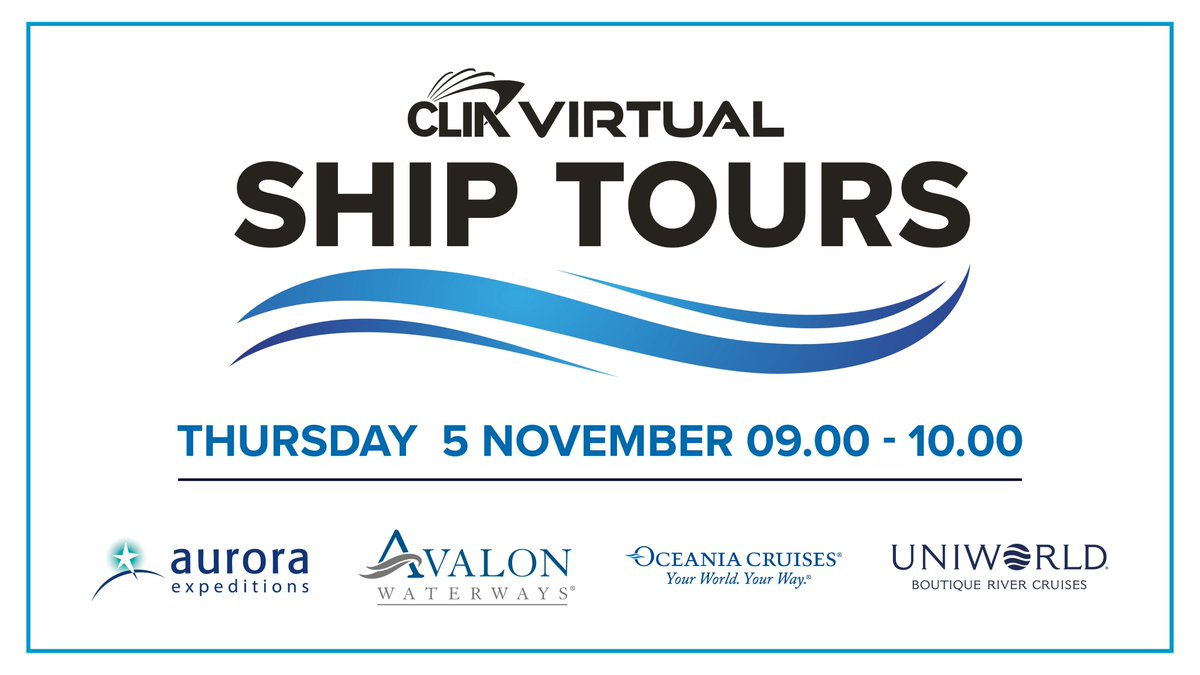 The first of our Virtual Ship Tours will take place on November 5 with @Polar_Experts, @AvalonWaterways, @OceaniaCruises and @UniworldCruises. 🤩  Register now via https://t.co/KgXdcPLCUu https://t.co/AYrQnxPF7N
