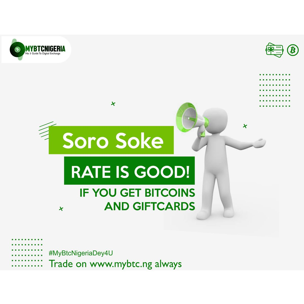 Oya sorosoke Rate is Good, if you get Bitcoin and Gift cards #MyBtcNigeriaDey4U . . Our referral promo is still on : REFER SOMEONE TO TRADE ON MYBTC.NG AND EARN 1 THOUSAND NAIRA #MyBtcNg #MyBtcNigeria we trade: BITCOIN,GIFTCARDS,YUAN AND ETHEREUM 24/7