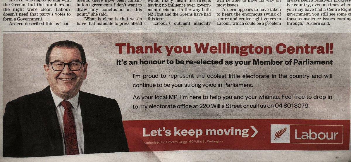 ジャシンダの長年の同志Grant Robertson財務大臣もWellington中央選挙区で勝利。彼はゲイです。傷ついてきた人生だから彼の政治は優しい。「(コロナ補償は)必ず貰えるはずだ。まだ貰ってない人は私に連絡くれ!」と真剣に私達に訴えたLockdown中の記者会見を忘れません。また財務大臣でありますよう。 https://t.co/F1XasOoQyB