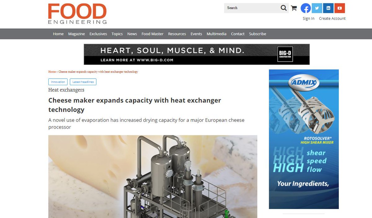test Twitter Media - HRS is featured in @FoodEng on: Cheese Maker Expands Capacity with Heat Exchanger Technology. A novel use of evaporation has increased drying capacity for a major European cheese processor. Read more: https://t.co/Zjg8RbeU7Z #heatexchangers #evaporation #cheeseproduction https://t.co/SJg0BZyvlR