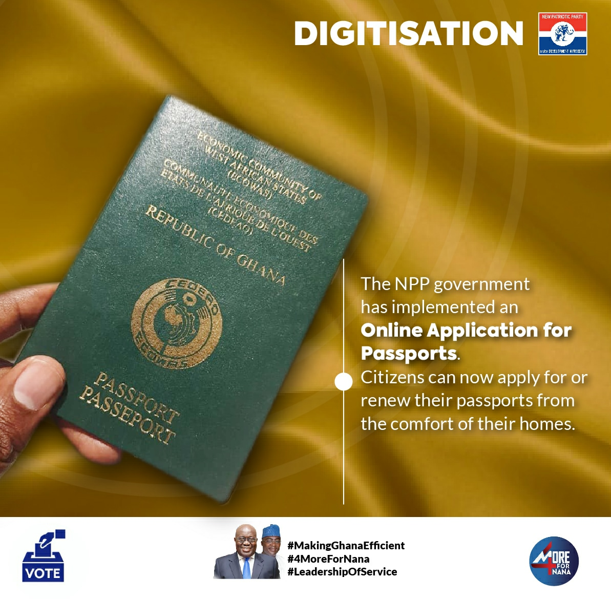 The online passport application, implemented by the NPP Government, has made it possible for Ghanaians to apply for or renew their passports from the comfort of their homes. #MakingGhanaEfficient #4MoreForNana https://t.co/0JSwTIeOIt