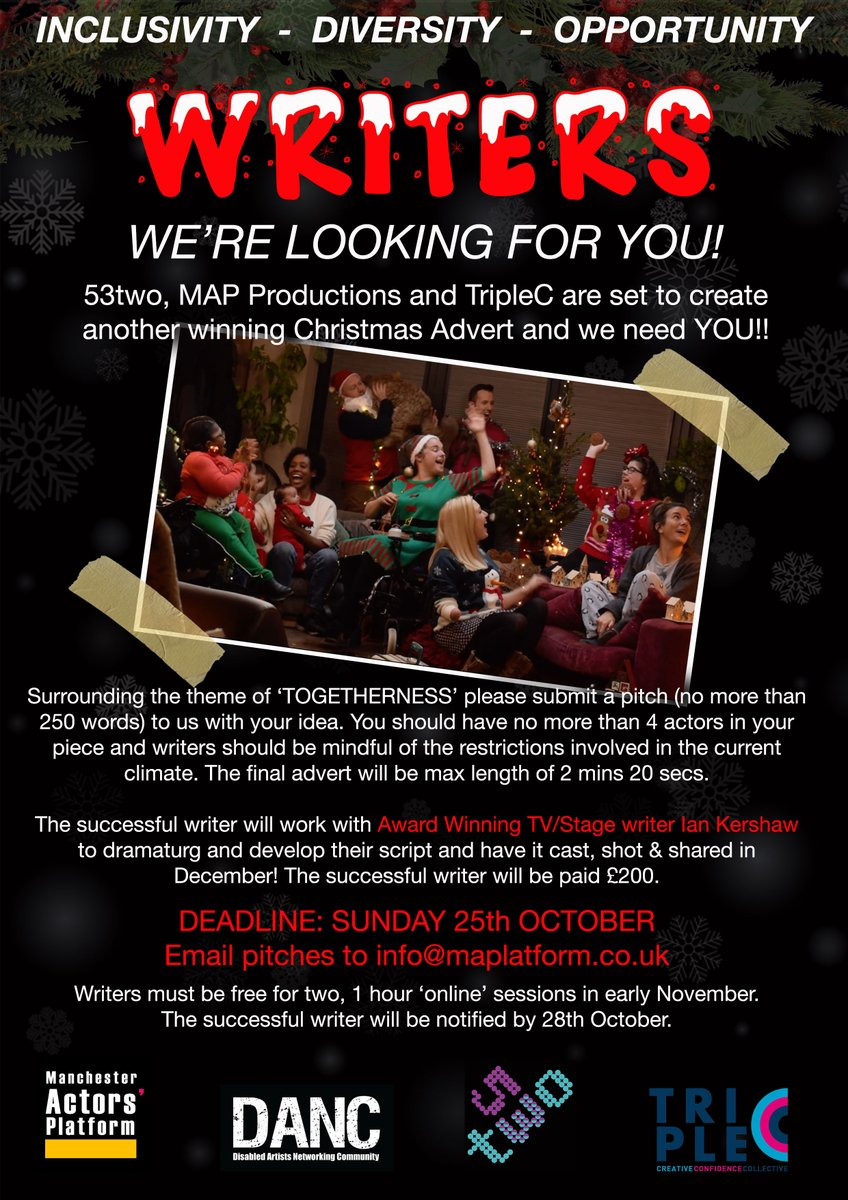 🚨PAID OPP🚨Our massive #Christmas Ad is back & we want YOU! We're looking for #writers to pitch. The chosen idea will receive support from ace @Iankershaw. Our last advert got 100k+ views, even making national news! Watch here ▶️https://t.co/3bY3Kbydc4 Grab the info below! 💜💙 https://t.co/rCtERYp9t6