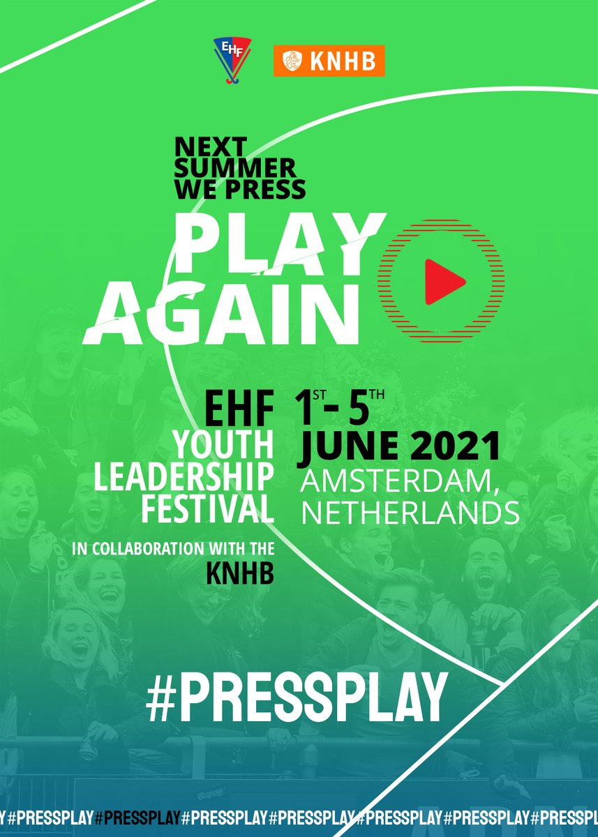 """#MondayMotivation #pressplay   Aged between 18-30 and involved in hockey?   THIS is for you!   The EHF Youth Leadership Festival applications are NOW LIVE.   Please contact your National Association   DON""""T MISS OUT! https://t.co/e9Rl4t7uuO"""
