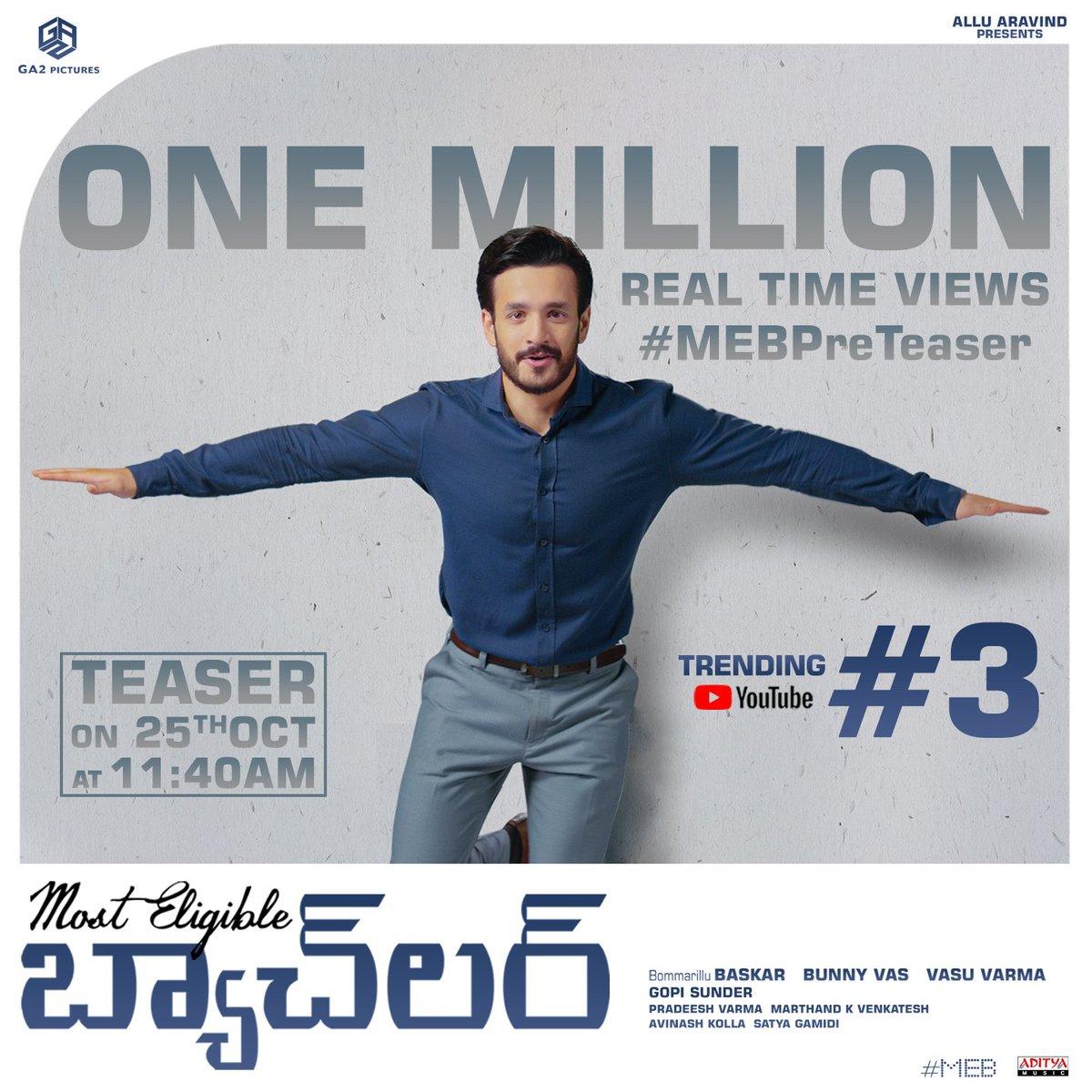 It's ONE MILLION+ Real time views for #MEBPreTeaser & Trending #3 on @YouTubeIndia  🔥🤩  ▶️    #MostEligibleBachelor #AlluAravind @AkhilAkkineni8 @hegdepooja @baskifilmz @GopiSundarOffl #BunnyVas #VasuVarma @GA2Official @adityamusic
