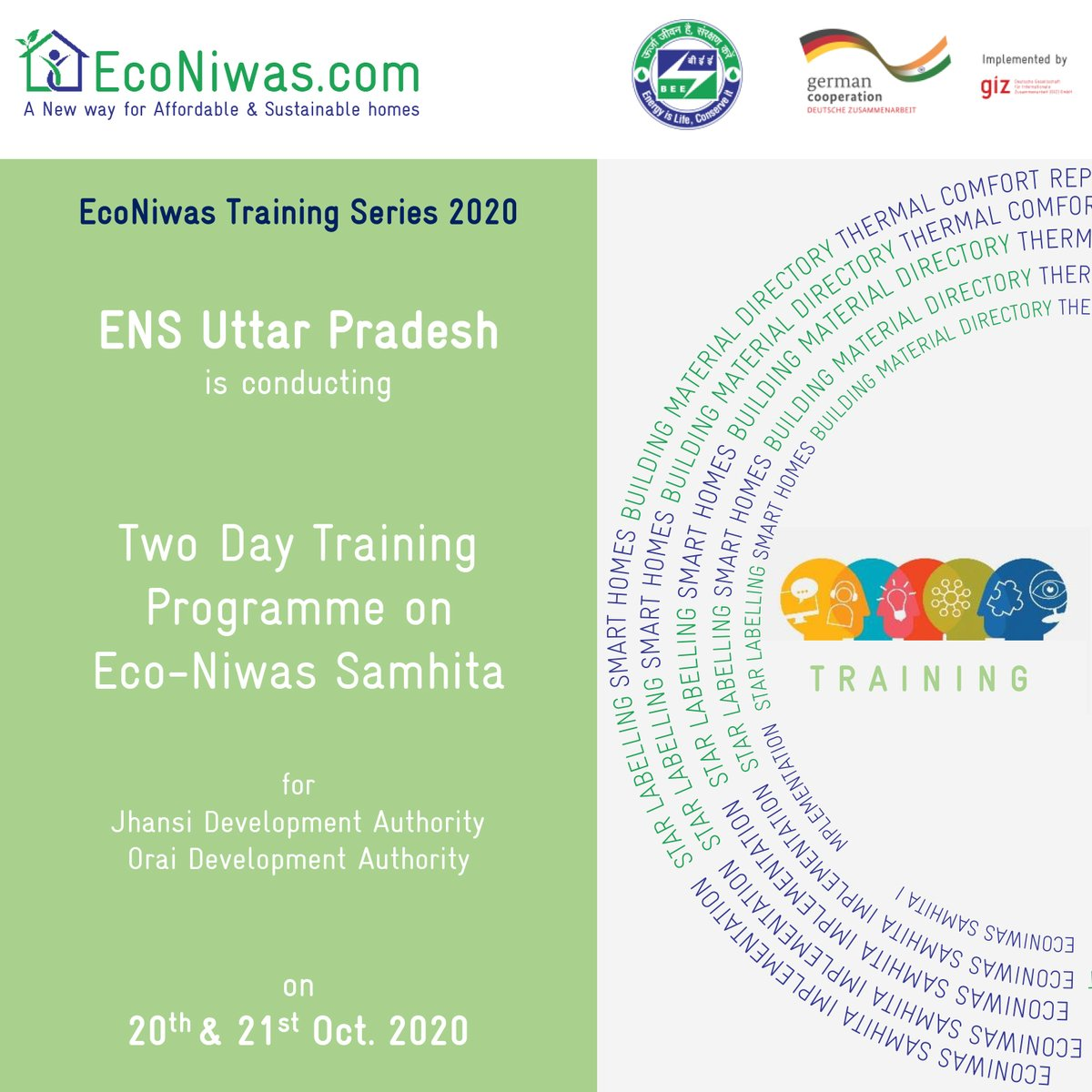 Two day Training session on #EcoNiwasSamhita organized by #ENSCellUP on 20th & 21st October, 2020 starting at 11:00 a.m. @beeindiadigital @giz_india @UPNEDA_Agency https://t.co/YrycvamvGe