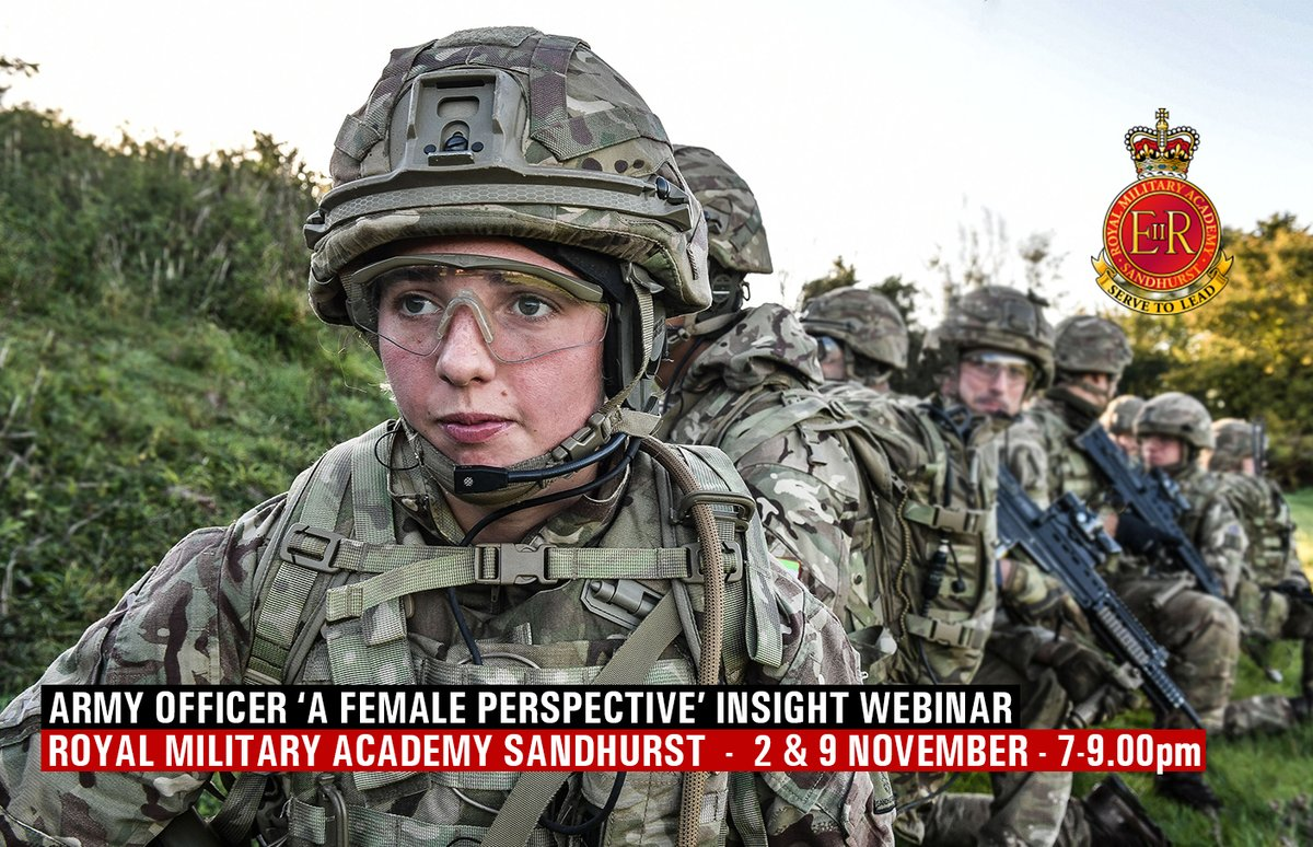 Want to know more about being a female Officer in the British Army? 2nd and 9th November (7-9pm) the Army Officer Recruiting Team webinars 'Army Officer – A Female Perspective'. To express interest https://t.co/qEe5y6b2fK  #Sandhurst #ArmyConfidence #female #femaleleadership https://t.co/K5zc7Lk865