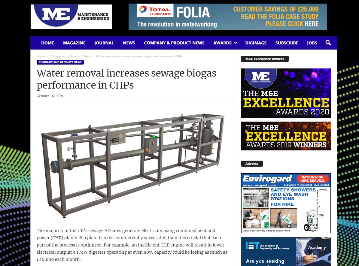 test Twitter Media - HRS is featured in @MaintOnLine on: Water Removal Increases Sewage Biogas Performance in CHPs. The HRS Biogas Dehumidification System removes water from biogas, protecting CHP engines from corrosion and cavitation. Read more: https://t.co/fcgvi04Gzi #biogas https://t.co/Z3qbVTGYil