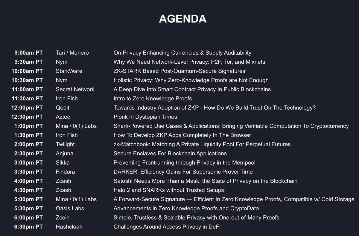 #Zcash stuff starts at 4 pm, but there's a LOT to like in this agenda. 👇