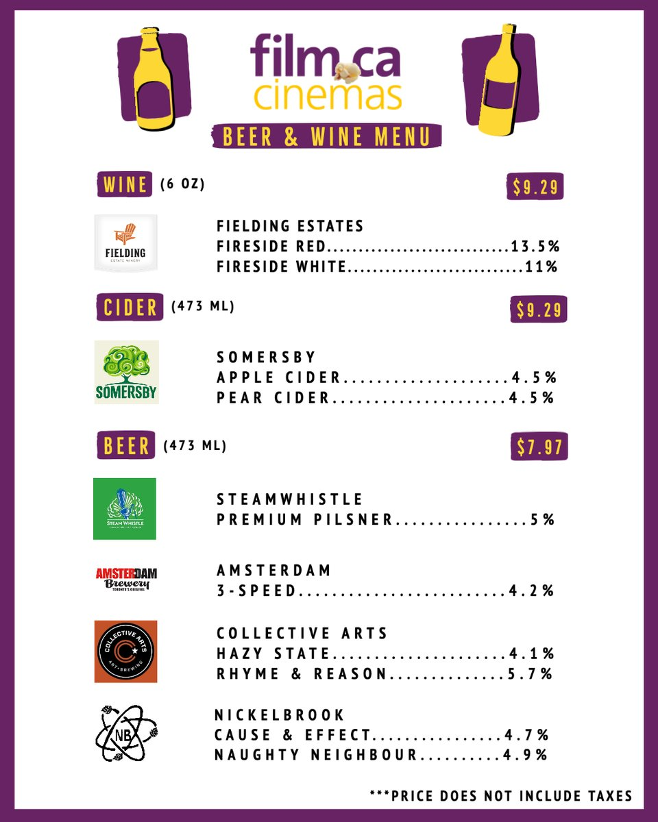 Check out our Beer & Wine menu available at the cinema! 🍷🍺 Enjoy a glass while watching a movie 🎥   #beer #wine #cider #drinkresponsibly https://t.co/9kd5Cf6AS6