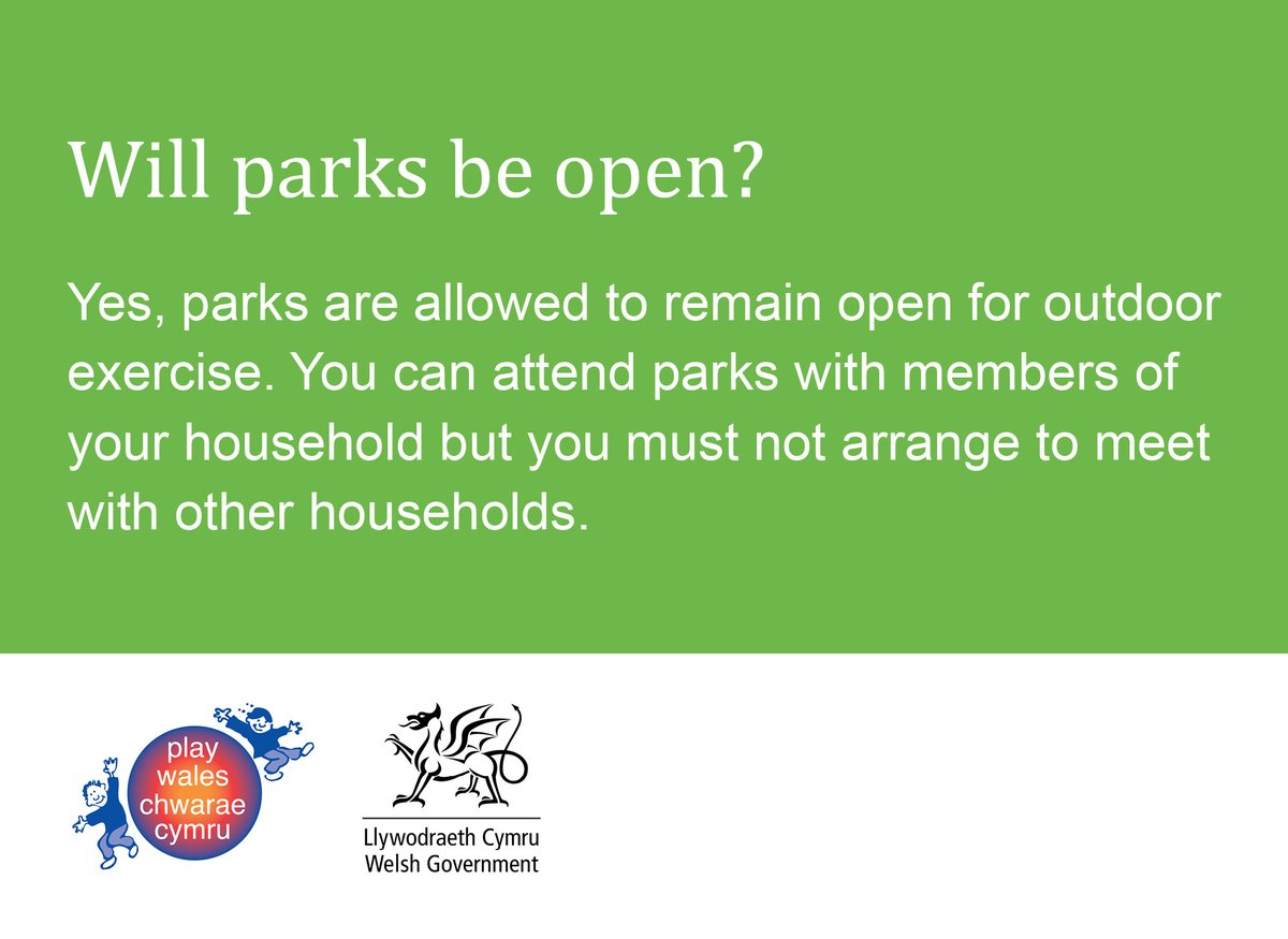 Parks will be open for children's outdoor play during the coronavirus circuit break (23 October - 9 November)  More info on how @WelshGovernment restrictions will affect children: https://t.co/n4pcRm531V  #Play #CoronaPlay #PlayingOut https://t.co/NZ01e2RwVw