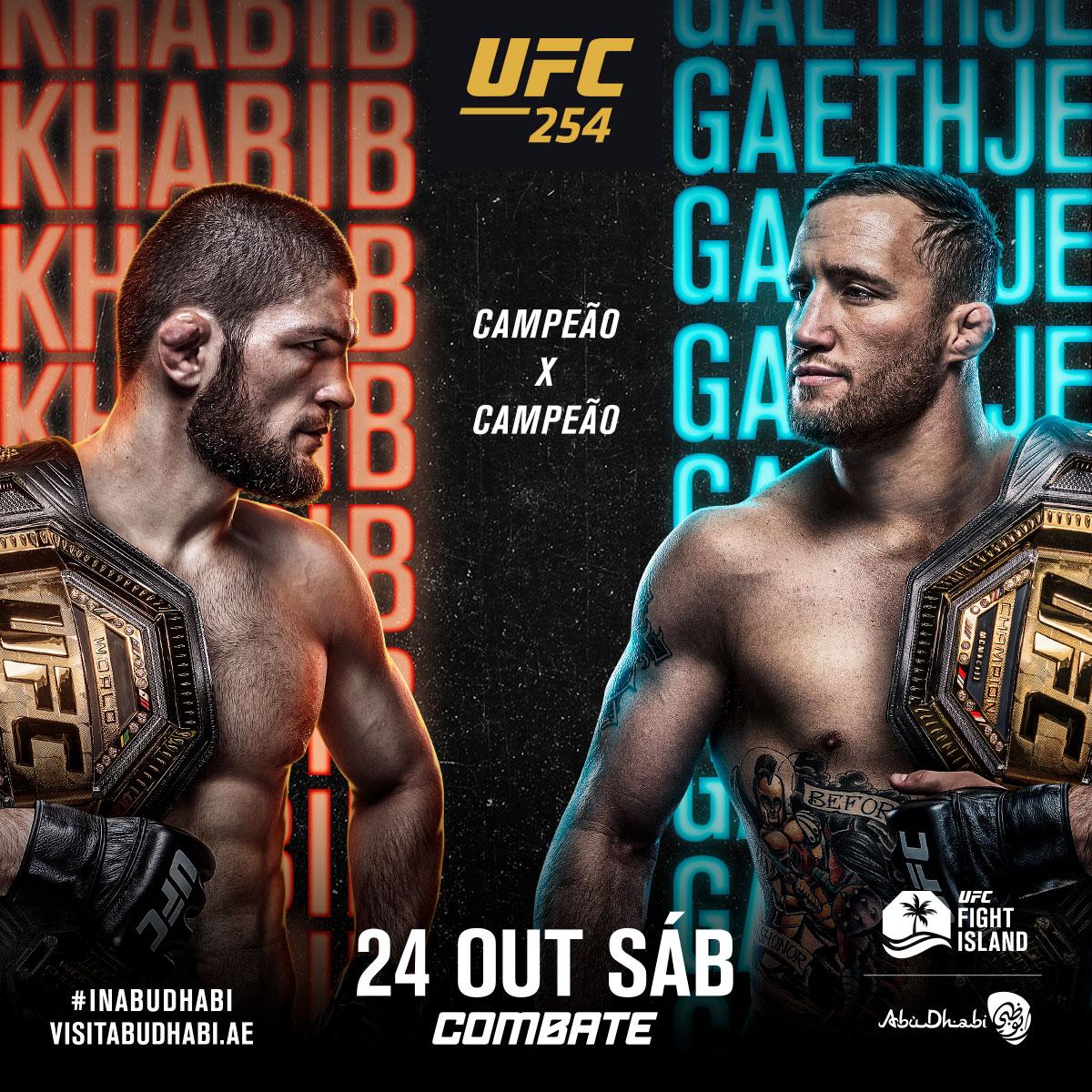 Próxima parada 🏝 #UFC254 🏆🇷🇺 @TeamKhabib 🆚 @Justin_Gaethje 🇺🇸 📅 Sábado, 24 de outubro ⏰ A partir de 11h30 da manhã (horário de Brasília) 📺💻📱 Ao Vivo e exclusivo no @canalCombate. Assine já ➡ https://t.co/ft1a87cDcK https://t.co/PWQ0v7BmuC