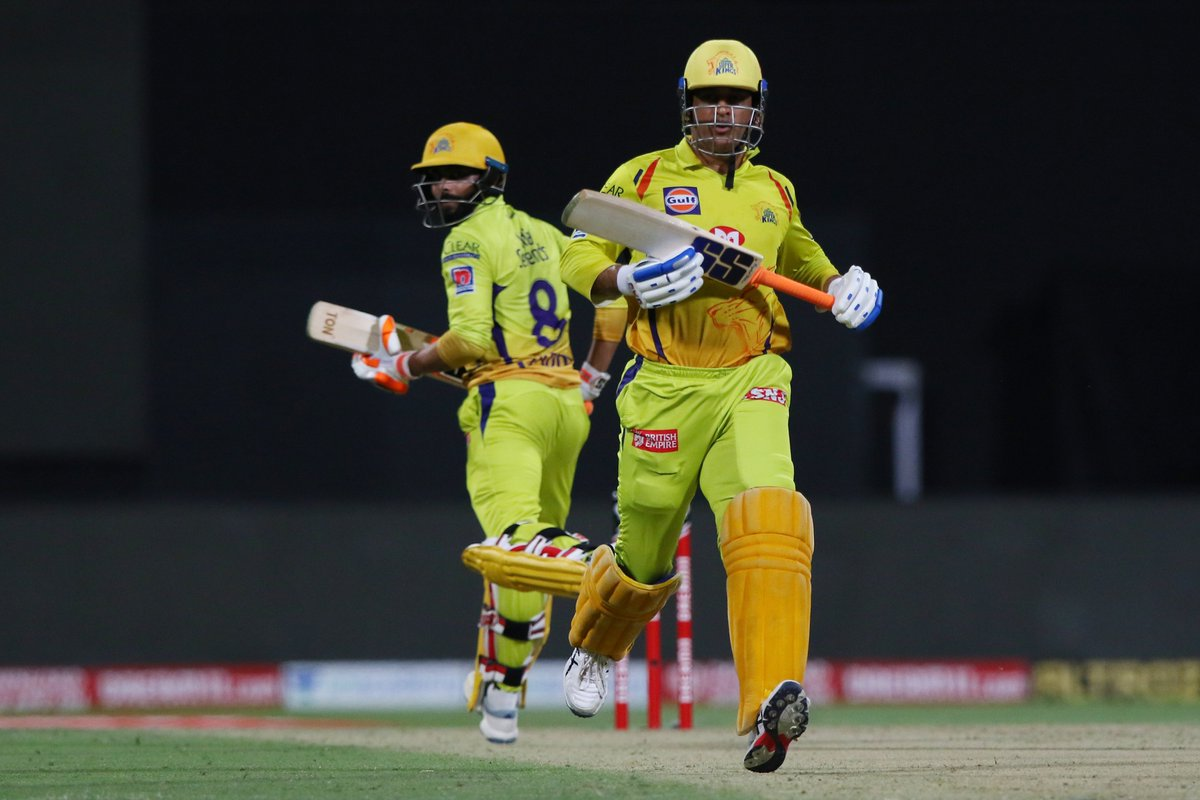 MS Dhoni and Ravindra Jadeja have stitched together an unbeaten 44-run partnership, thus far, as Chennai enters triple figures in Abu Dhabi. #CSK 100/4 after 17 overs 🚨 Follow #IPL2020 #CSKvsRR 🏏 live: sportstar.thehindu.com/cricket/ipl/ip…