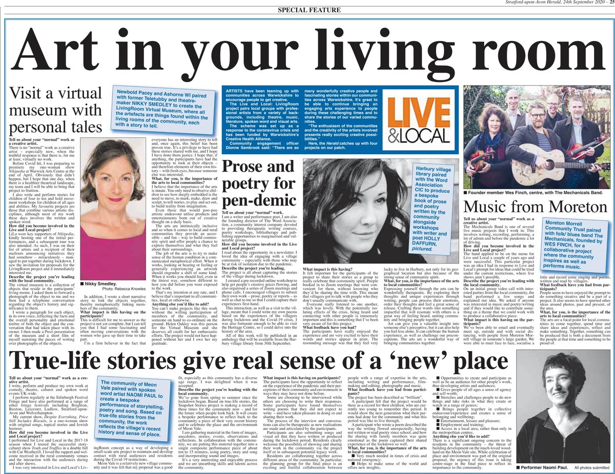 We were thrilled to have this article in The Stratford Herald on 24.09.2020 featuring several of our wonderful Living Room projects. You can purchase a digital copy here: https://t.co/Qh7I2eBRCw  #bestwarwickshire  #creativecarecw  #CreateWell2020  #livelocallivingroom https://t.co/vZ1P4G29Py