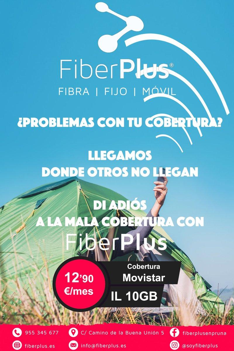 ¿Problemas con tu cobertura actual? ¡Di adiós a la mala cobertura con #FiberPLus!  ⭐ Tarifa estrella móvil.  🌐 Llamadas ILIMITADAS ➕ 10GB (cobertura Movistar).  💶 12'90 euros.  ✅ Para SIEMPRE.  📍 Promoción válida para #Pruna.  #internet #fibraóptica #wifi https://t.co/FCYpFiJvlN