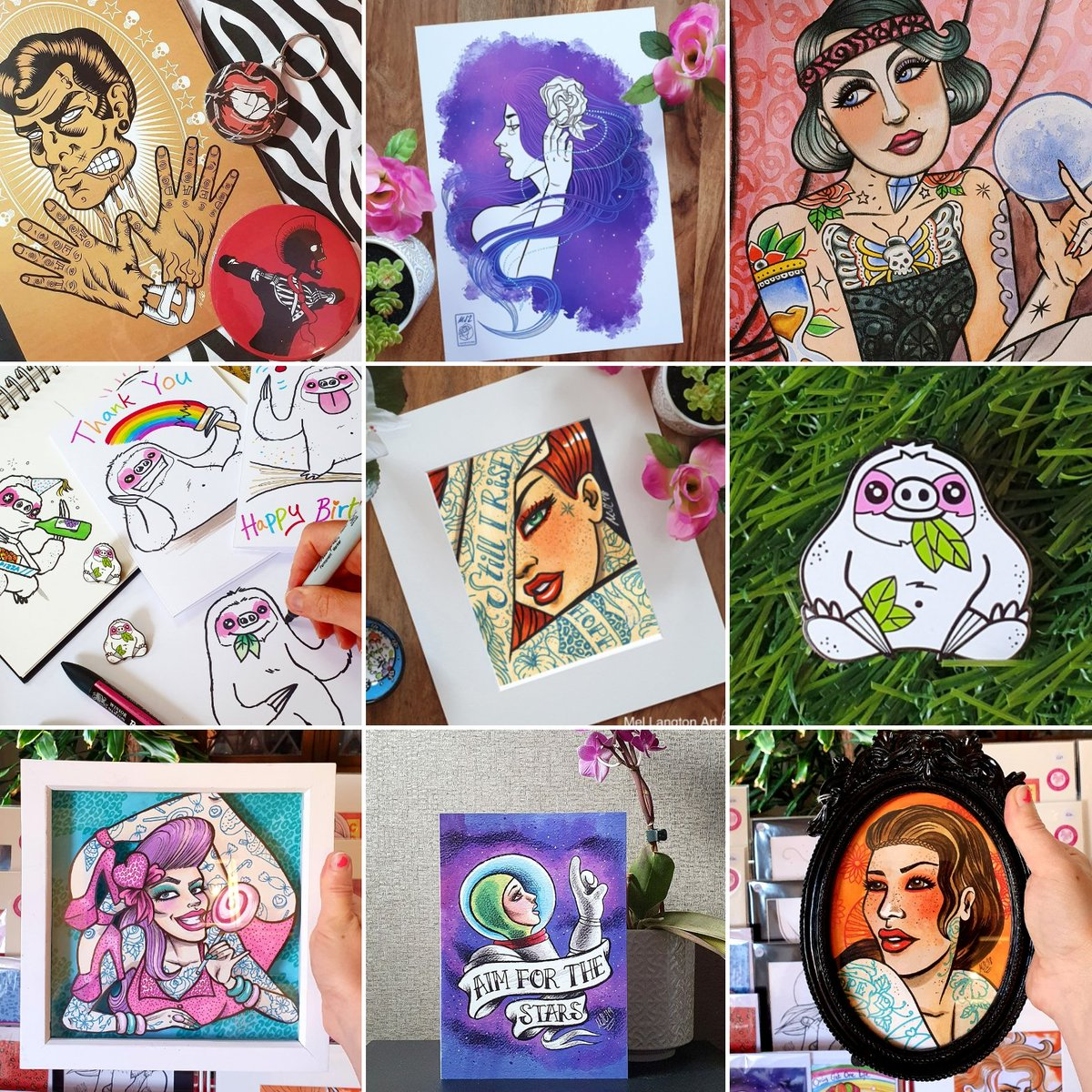 Calling all fans of inspirational individuals, bad ass ladies and of course Slothypops the sloth! Check out my bold, colourful and original art at my store for a truly unique gift this Christmas🎄  https://t.co/aDyUuZEfhD #LincsArtCraftHour  #LincsConnect  #LincsConnectChristmas https://t.co/G90C949zO3