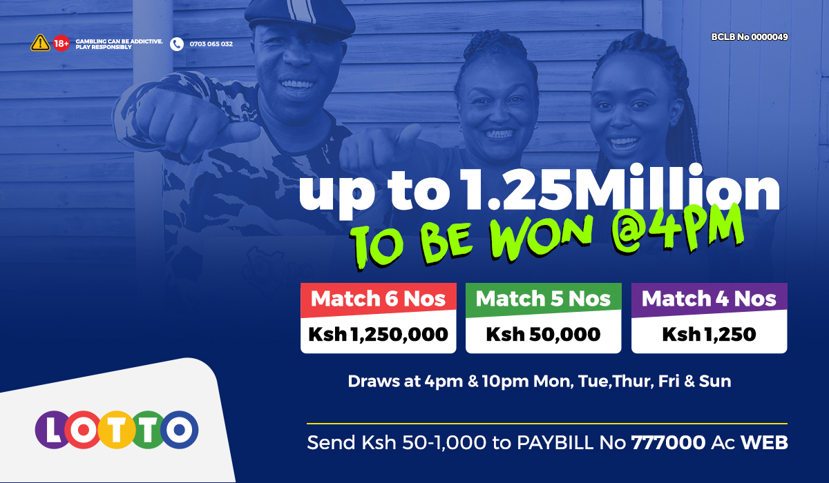Everyday ni Millions Day hapa Lotto! Usingoje Sato kuwa Millionaire! Ingia 1.25M Draw ya 4pm. Match 6 numbers ushinde 25000x your bet. Cheza na Sh 50-1K kwenye Paybill 777000 AC WEB #MillionairesClub #HomeOfWinners #ChezaLotto https://t.co/3edy6ilRey