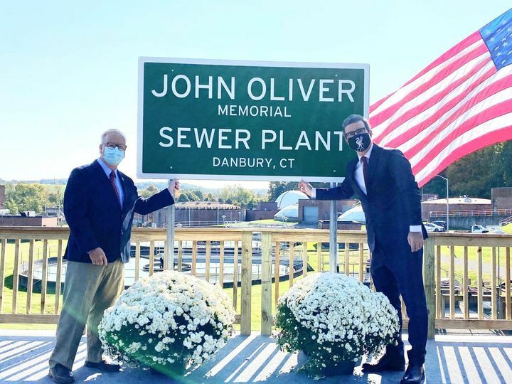 Danbury Connecticut Mayor Mark Boughton tweeted out this photo of the new sign at the John Oliver memorial sewer plant.