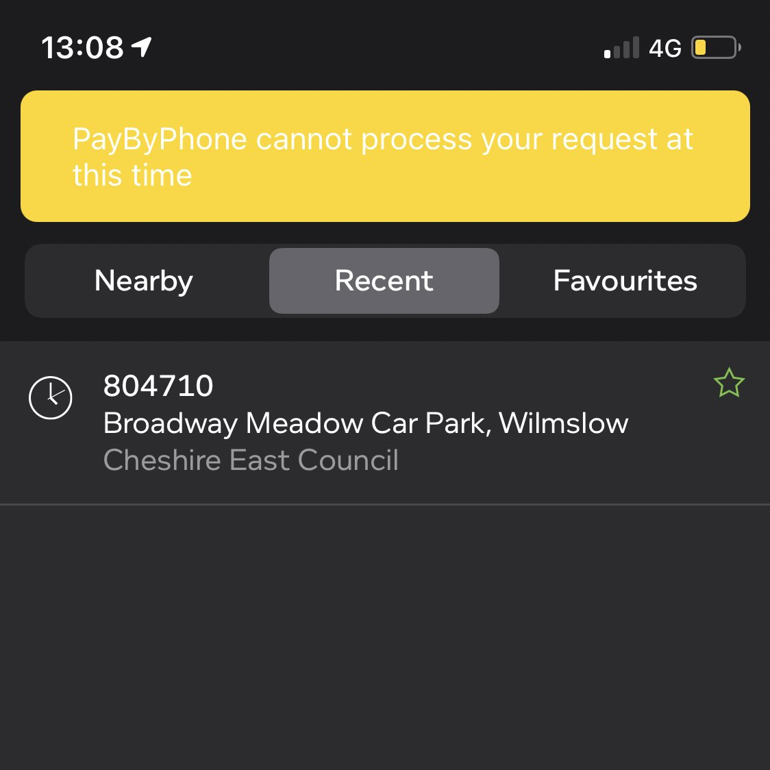 Heads up @CheshireEast & @PayByPhone_UK - site 804710 is not working on the app. Any help much appreciated - as only have app to pay for parking!  #Wilmslow #CheshireEast #Parking #PayByPhone #TechIssues https://t.co/uAeKRNZc3n