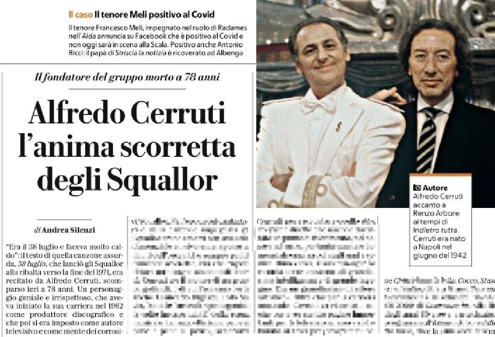 Osservatorio Coccodrilli.   Quello di Alfredo Cerruti, storico fondatore degli Squallor, affidato ad Andrea Silenzi che torna così a scrivere sul cartaceo dopo lungo tempo.   RIP.   #AlfredoCerruti https://t.co/SW7gQIjsSj