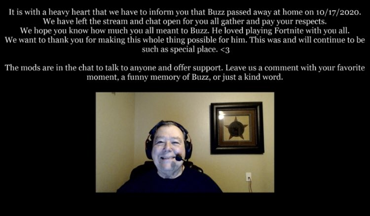 Some incredibly sad news to start this week as a 72-year old Twitch streamer known as Oldbuzzardt passed away this weekend. He was set to stream more Fortnite this weekend and viewers were met by a message his family is now displaying on his channel. Rest In Peace.
